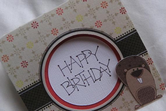 Bitty Beaver Happy Birthday Greeting Card