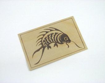 Fish Postcard - Wood Pyrography - Asian Fish Wood Postcard