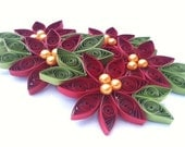 Poinsettia Christmas Ornament Paper Quilled Crimson Red - Pearl Centers
