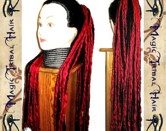 VAMPIRE DREAD yarn hair FALLS dreadlocks wig Goth Lolita Cosplay 98 dreads 23''/ 60 cm long Fantasy witch demon Reenactment belly dance