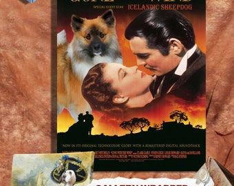Icelandic Sheepdog Vintage Movie Style Poster Canvas Print   Perfect DOG LOVER GIFT Gift for Her Gift for Him Home Decor