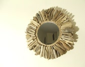 Small Round Driftwood Mirror. Handcrafted Rustic Mirror.