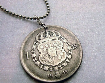 Swedish necklace - Coin Jewelry - Antique Silver Swedish COIN NECKLACE - 1 krona - Sweden coat of arms - crown - Silver coin pendant