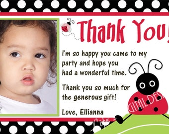Lady Bug Thank You Cards Polka Dot Photo Option  Customizable Printable