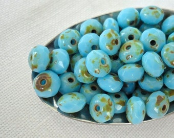 Pressed Glass Czech Picasso Rondells Sky Blue 5X3mm 25 Beads