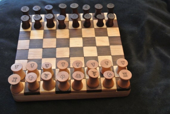 Chess / Checkers - Walnut and Maple - Wood turned pieces - Rustic  - Handmade