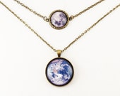 Earth And Full Moon Two Tier Necklace, Multi Strand Necklace