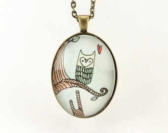 Owl Necklace, Original Owl Watercolor Painting Jewelry, Hand Painted Art Pendant