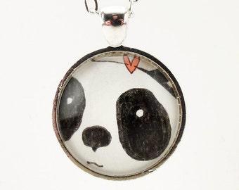 Panda Necklace, Cute Black And White Kawaii Panda Jewelry, Art Pendant