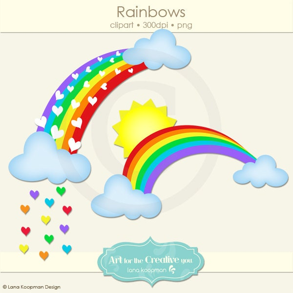 Rainbow Digital Clip Art Cloud Clipart Sun by ...