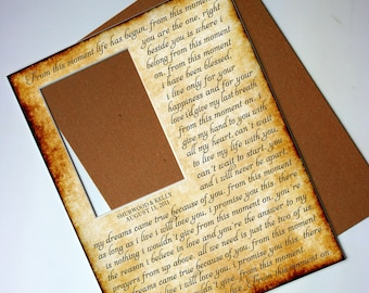Custom Photo Mat - Any song lyrics -  Personalized with your Names - Wedding first dance - 11x14 for your 5x7 photo - No frame