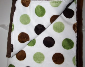 Super cute Minky boy Blanket... Brown Minky Flat with Green and Brown Minky Polka Dots.. So soft
