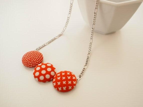 Kimono silk fabric button choker necklace- polka dots, cross, orange