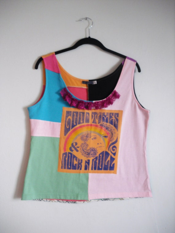 Size XL Good Times Rock N Roll upcycled tank top