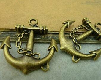 10pcs 27x31mm The Boat Anchor  Antique Bronze Retro Pendant Charm For Jewelry Bracelet Necklace Charms Pendants C3966
