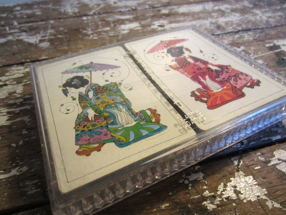 Vintage Stancraft Playing Cards Poke Cards Oriental Geisha