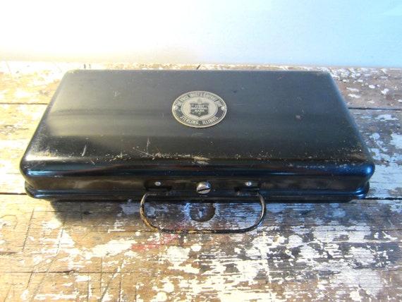 Antique Metal Cash Box First National Bank Black Metal Rustic Storage Industrial Decor
