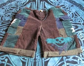 Grateful Dead patchwork lightning bolt dancing bear shorts