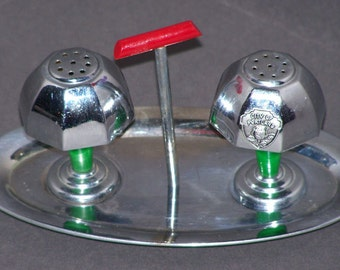 RARE Occupied Japan Lamp Salt and Pepper Shakers on Serving Tray