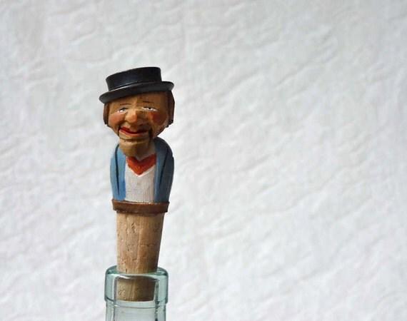 Novelty carved bottle stopper, mechanical Made in Germany, Hans my Cork