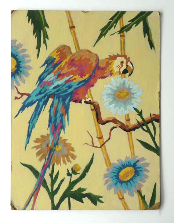 Vintage painted parrot pair, paint by number wall art for your tropical decor