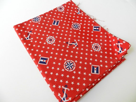 Vintage Retro 1970s Red White Blue Nautical Theme Patriotic Colors Boat Anchor Stars 1 yard