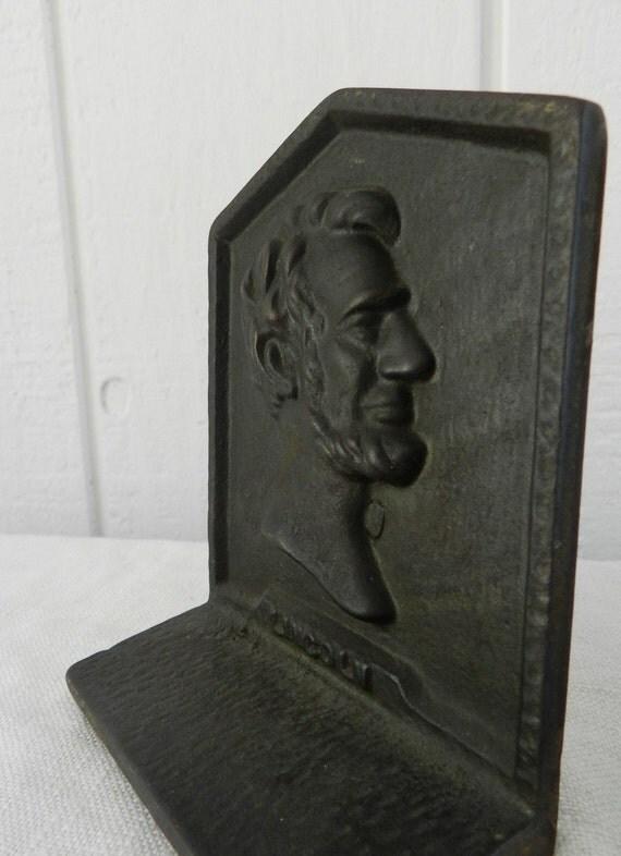 Vintage Cast Metal Abraham Lincoln Black Bookends Heavy Felted Bottoms Set of 2