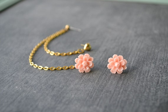 Blush Carnation and Heart Multiple Pierce Gold Cartilage Earrings (Pair)