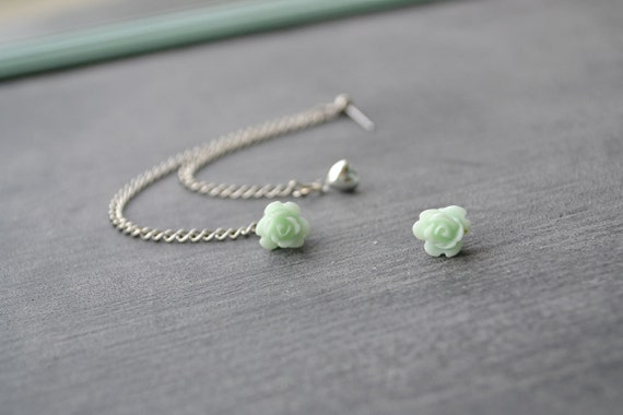 Mint Flower Bud and Heart Multiple Pierce Silver Cartilage Earrings (Pair)