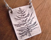 CUSTOM ORDER FOR Yvonne - necklace - hand carved douglas fir tree in fine silver