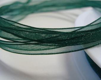 "Ribbon Chiffon Organza Green Luxe 1/4""width 10 Yards"