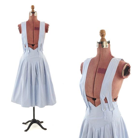 Vintage 1980's Baby Blue Pastel Cotton Jumper Strappy Romper Dress S
