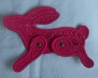 Any Color Lace Applique for Crafts or Crazy Quilt - 3-D Moveable Bunny Rabbit