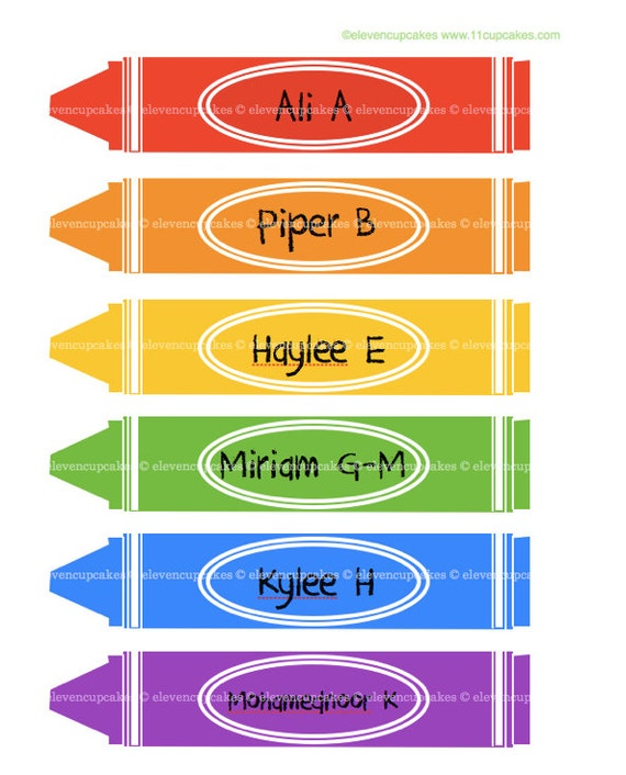Items similar to school crayon labels crayon name tags for Crayon labels template