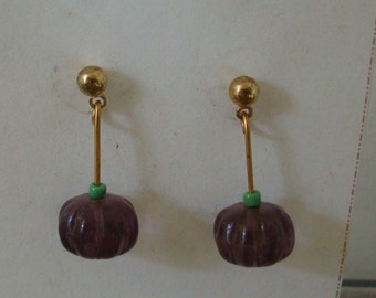 PURPLE BEAD DROPPING one inch.. custom earrings  see all photos please
