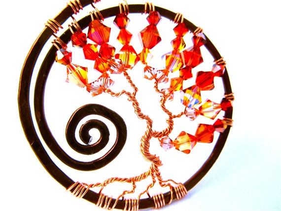 Autumn Tree of Life Pendant, Swarovski Crystal Cilli Pepper, Violet Brandy and Fire Opal Satin beads on a sleek brown nylon choker cord