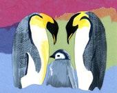 FREE Shipping: FREESHIPCRE8 Handmade Penguin Family New Baby Blank Card