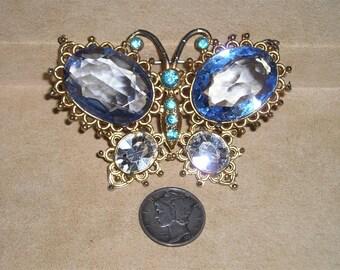 Vintage Rhinestone Butterfly Brooch 1950's Blue Glass Stones  Jewelry K5