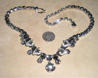 Weiss Necklace Black Diamond Crystal Rhinestone 1950's Signed Jewelry 7033