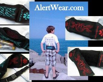 Waterproof Custom Epi-Pen  Fanny Pack / Case with Interchangable Designs Personalized Inside