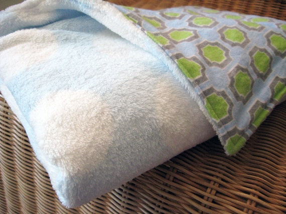 """Minky Blanket, Baby Blue & White Polka Dot with Cotton Flannel Geometric Lining, 25"""" x 36"""""""