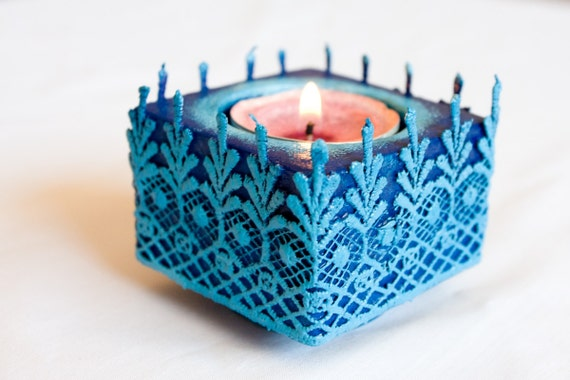 Candle Holder, Royal Blue, Lace Terracotta Candle holder, Customize your color hostess gift for her