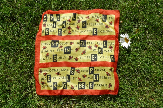 vintage VERA Scarf, Bee Design, decorated with Bees and words about Bees in red black and gold