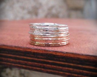 Stack Rings Silver and Gold- Mixed metals- Set of 10 hammered rings in 14k gold filled and sterling silver