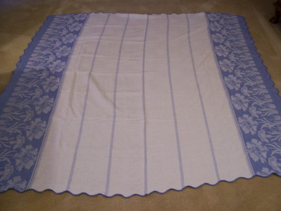 Vintage Tablecloth 1950s Blue Floral Border with White
