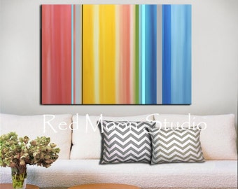 Featured on HGTV - Abstract Art - Large 48x36 Abstract Painting, Coral Yellow Blue Gray Grey, Original Painting Stripes