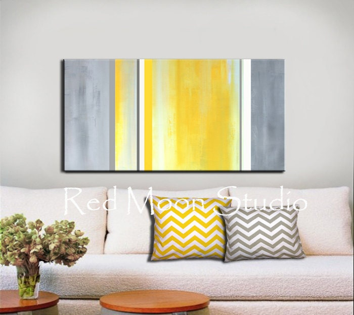 Abstract Art Yellow Gray Grey Painting Large 48x24