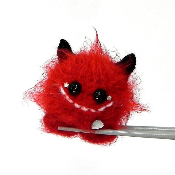 Fire Ball MochiQtie - Amigurumi crochet mini toy doll - crocheted Amigurumi devil monster