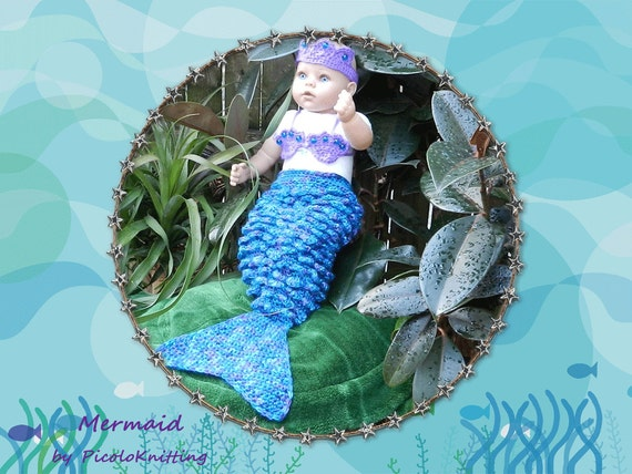 Christmas Sale Little Mermaid - Ariel  - Photo Prop Baby Shower Christmas Gift New Baby Gift in PURPLE - newborn size - ready for ship