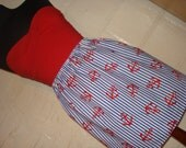 Anchors Away Skirt -  High Waisted Mini- Handmade - Blue & White Striped with Red Anchors